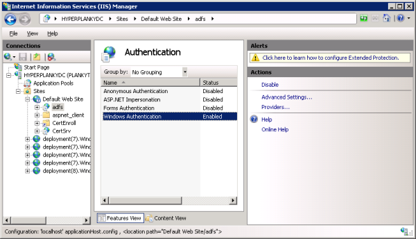 Setting up Windows Authentication on the adfs web site.
