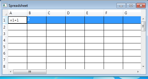 The functioning spreadsheet