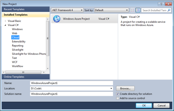 The Windows Azure project template