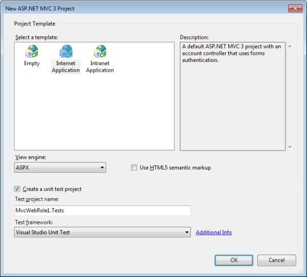 The new ASP.NET MVC3 project dialog