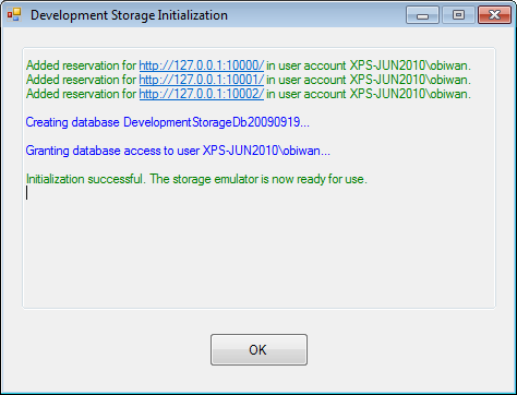 Setting the database for the storage emulator