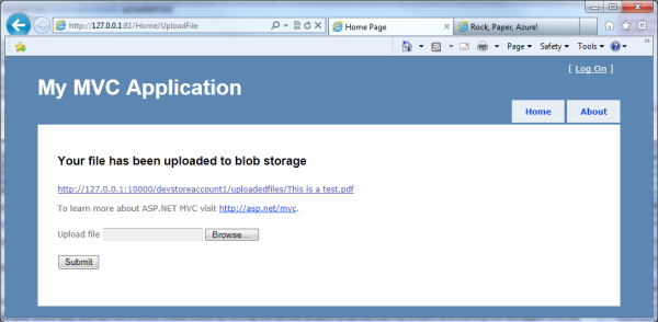 Uploading files to the Blob service