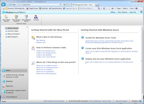The Windows Azure management portal
