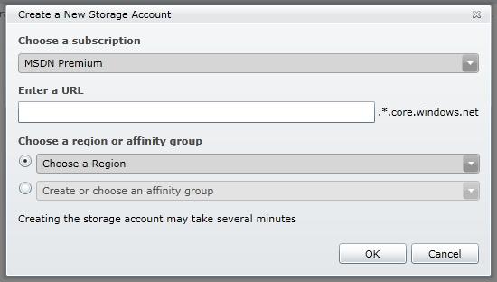 The Create a new storage dialog box