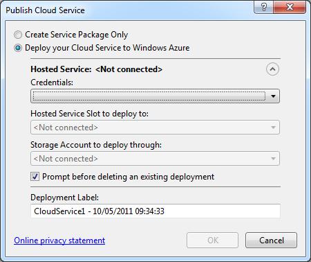 the Publish Cloud Service dialog box