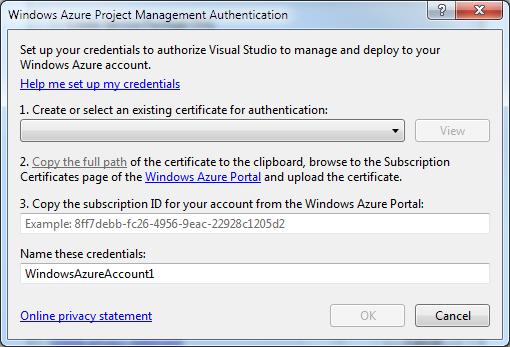 the Cloud Service Management Authentication dialog