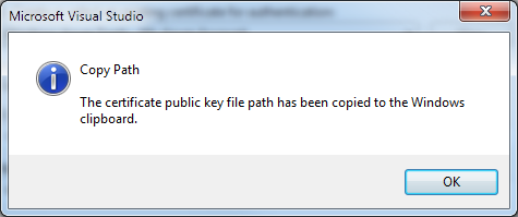 Copying the certificate to the clipboard