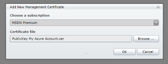 the Add New Management Certificate dialog