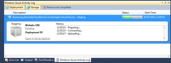 the Windows Azure Activity Log