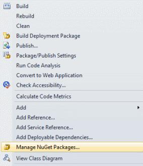 Manage NuGet Packages menu