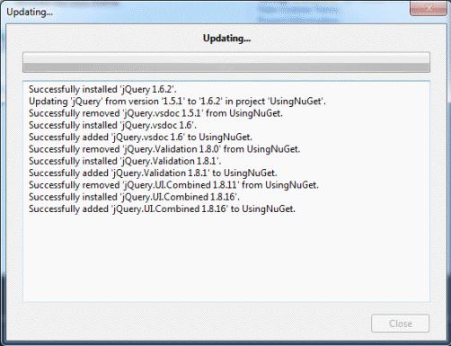 NuGet Update dialog