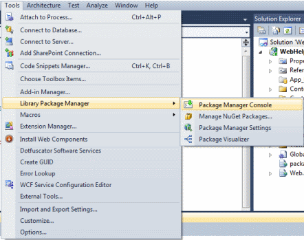 Opening the NuGet Package Manager Console window