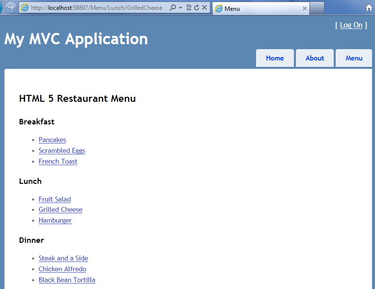 The MVC application with data and building each link using Razor syntax