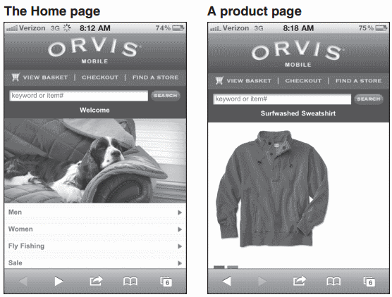 Two pages from the mobile web site for  www.orvis.com
