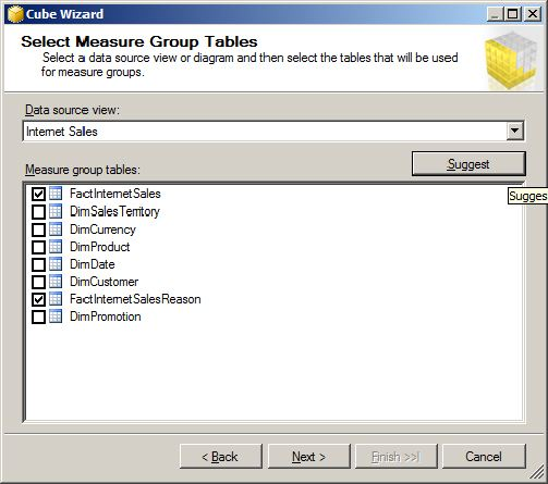 Selecting Measure Group Tables