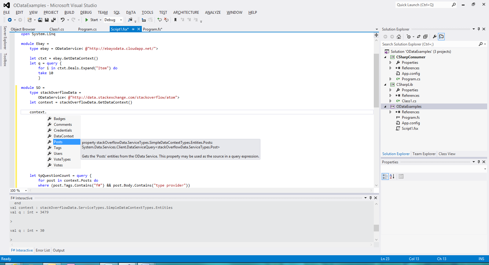 Screenshot of type provider enabled Intellisense for StackOverflow OData types