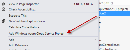 Add Azure Cloud Service Project